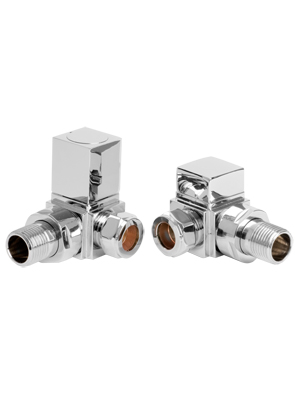 SBH Square Chrome Corner Angled Radiator Valve And Lockshield