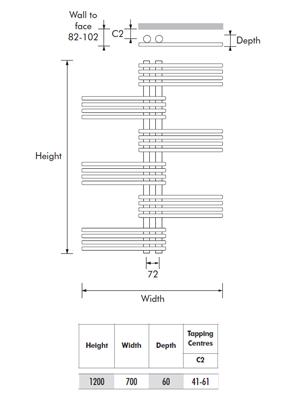 MHS Fingers 700 x 1200mm Dual Fuel Adjustable Towel Rail
