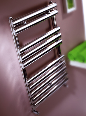 MHS Oval Polished Stainless Steel Dual Fuel Adjustable Towel Rail 500x1200mm