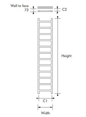 MHS Climber 350 x 1200mm Polished Stainless Steel Heated Towel Rail