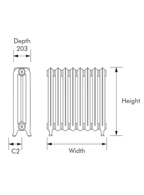 MHS Liberty Period Cast Iron Radiator 304 x 954mm