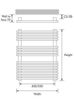 MHS Square 500 x 800mm Dual Fuel Adjustable Towel Rail