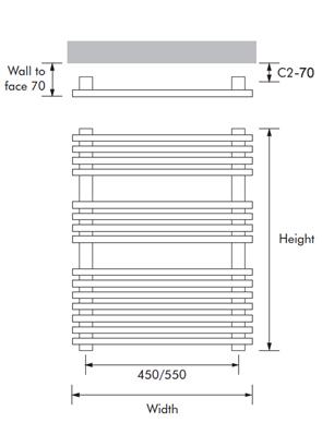 MHS Square 600 x 1200mm Dual Fuel Adjustable Towel Rail