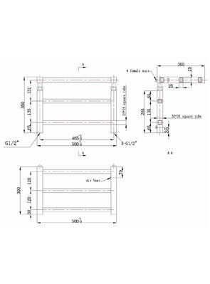 Phoenix Adam 500 x 350mm Designer Wall Mounted Heated Towel Rail