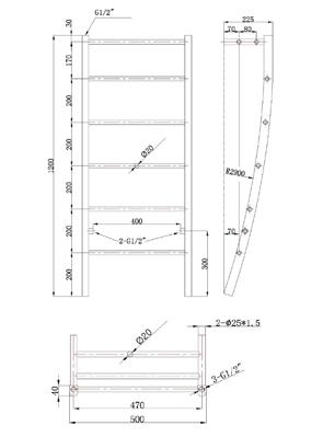 Phoenix Cali 500 x 1200mm Designer Heated Towel Rail