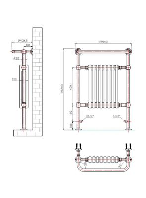 Phoenix York 659 x 952mm Traditional Style Heated Towel Rail