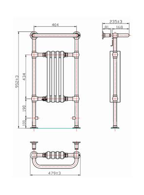 Phoenix Victoria 479 x 952mm Traditional Style Heated Towel Rail