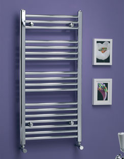 More info MHS Scarletta Bow Towel Rail 600 x 1800mm Chrome Dual Fuel