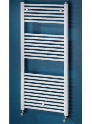 MHS Space 600 x 1800mm Straight Dual Fuel Towel Rail White