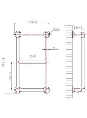 Phoenix Anne 400 x 700mm Traditional Style Heated Towel Rail