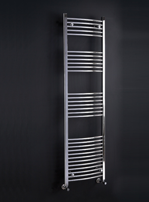 Phoenix Gina Curved 600 x 1200mm Chrome Heated Towel Rail