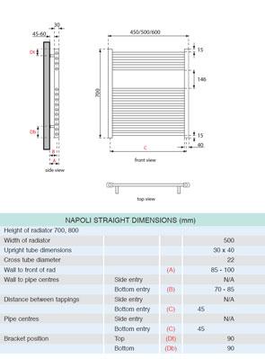 Apollo Napoli Straight Towel Rail 500 x 700mm Chrome