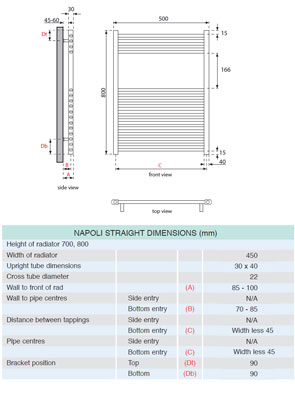 Apollo Napoli Straight Towel Rail 500 x 800mm Chrome