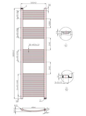 Phoenix Gina Curved 500 x 1800mm Chrome Heated Towel Rail