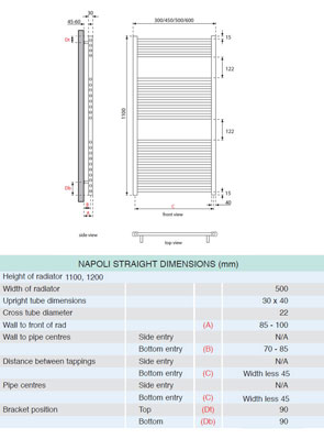 Apollo Napoli Straight Towel Rail 500 x 1100mm White