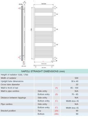 Apollo Napoli Straight Towel Rail 500 x 1700mm White