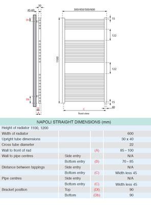 Apollo Napoli Straight Towel Rail 600 x 1100mm White