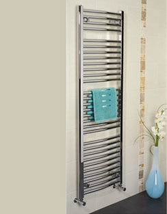 More info Apollo Napoli Curved Towel Rail 500 x 1200mm Chrome