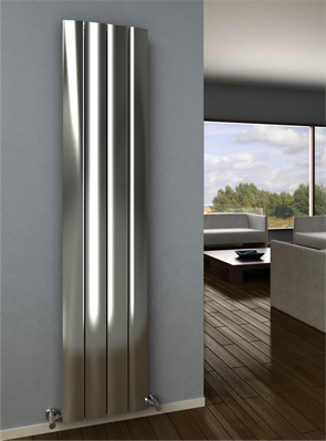 Reina Aleo Polished Aluminium Vertical Radiator 280 x 1800mm