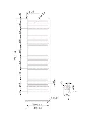 Phoenix Flavia Straight 400 x 1200mm Chrome Heated Towel Rail