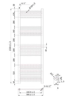 Phoenix Flavia Straight 500 x 1500mm White Heated Towel Rail