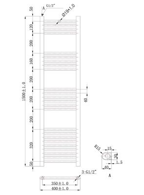 Phoenix Flavia Straight 400 x 1500mm Chrome Heated Towel Rail