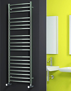 More info Reina EOS Polished Stainless Steel Curved Towel Rail 600 x 720mm