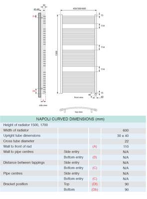 Apollo Napoli Sealed Electric Curved Towel Rail 600 x 1500mm Chrome