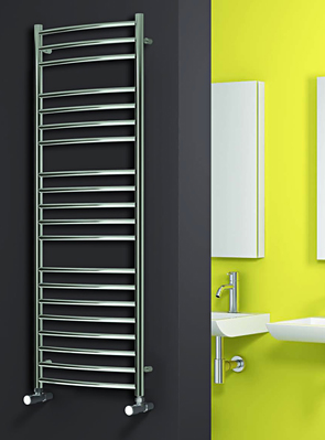 Reina EOS Polished Stainless Steel Curved Towel Rail 600 x 1200mm