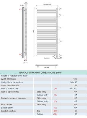 Apollo Napoli Sealed Electric Straight Towel Rail 600 x 1500mm White