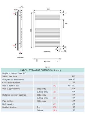 Apollo Napoli Sealed Electric Straight Towel Rail 500 x 800mm Chrome