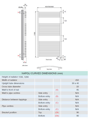 Apollo Napoli Sealed Electric Curved Towel Rail 450 x 1100mm White
