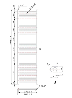 Phoenix Flavia Straight 500 x 1800mm White Electric Towel Rail