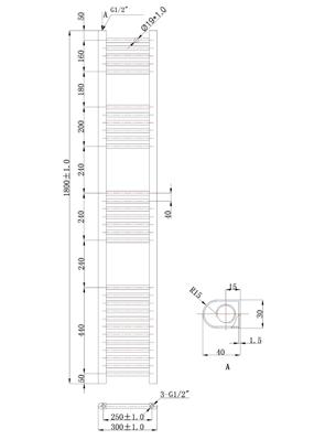 Phoenix Flavia Straight 300 x 1800mm Chrome Electric Towel Rail