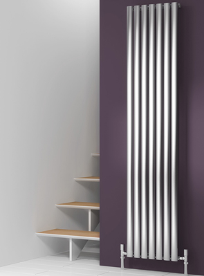 Reina Nerox Single Brushed Vertical Stainless Steel Radiator 413 x 1800mm