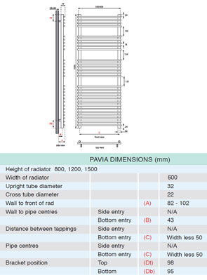 Apollo Pavia Tube On Tube Towel Warmer 600 x 1500mm White