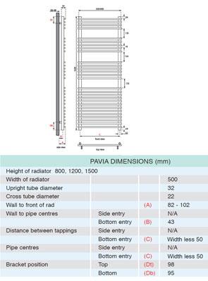 Apollo Pavia Tube On Tube Towel Warmer 500 x 1500mm Chrome