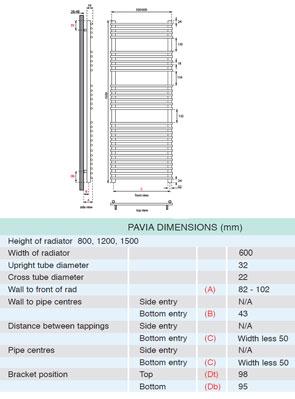 Apollo Pavia Tube On Tube Towel Warmer 600 x 1500mm Chrome