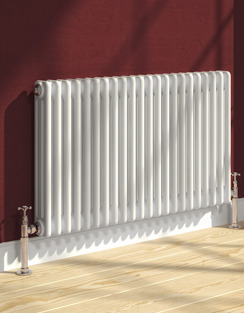 More info Reina Colona 2 Column Horizontal Radiator White 605 x 600mm