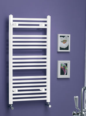 MHS Scarletta Straight White Towel Rail 600 x 1800mm Dual Fuel Adjustable