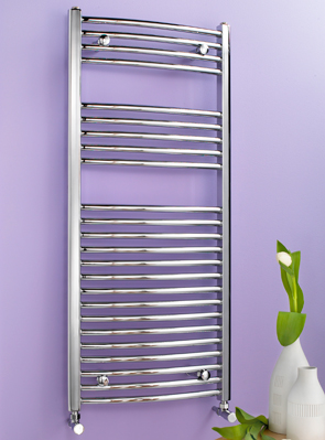 Biasi Dolomite 600 x 1600mm Chrome Curved Heated Towel Rail