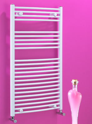 Biasi Dolomite 600 x 1100mm White Curved Heated Towel Rail