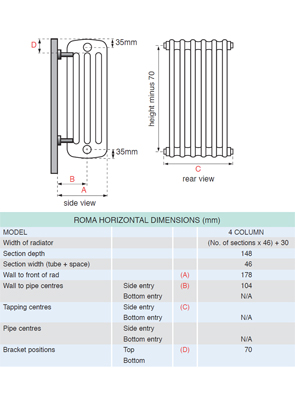 Apollo Roma 4 Column 600 x 600mm Horizontal Steel Radiator