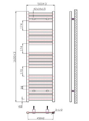 Phoenix Ascot 500 x 1600mm Chrome Designer Heated Towel Rail